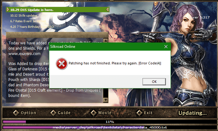 ExaySRO Silkroad Patching has not finished. Please try again. [Error Code(4)]