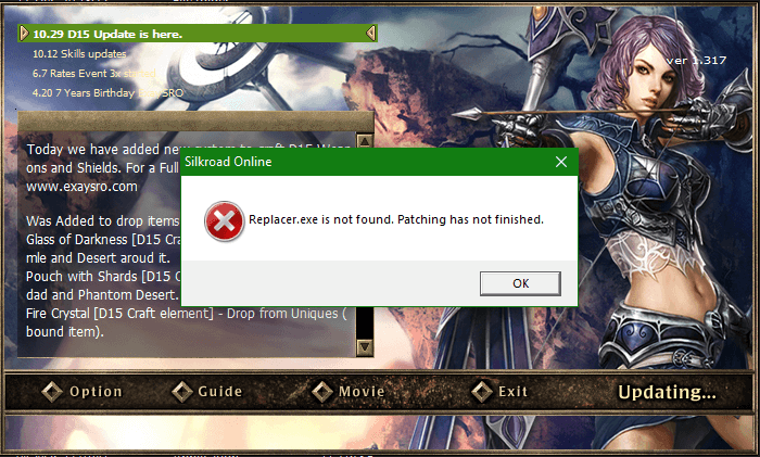 ExaySRO Silkroad Replacer.exe is not found. Patching has not finished.